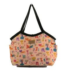 【庫存出清】 Dolly Club朵莉俱樂部(台灣製造防水包)肩背袋 中背心包 粉色貓咪圖案