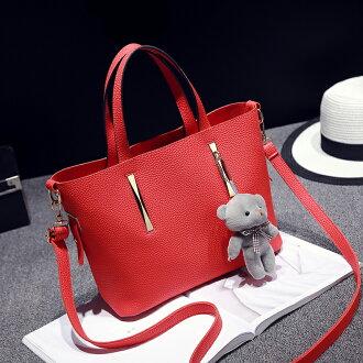 歐美簡約時尚小熊吊飾手提肩背包中包#KLY8757