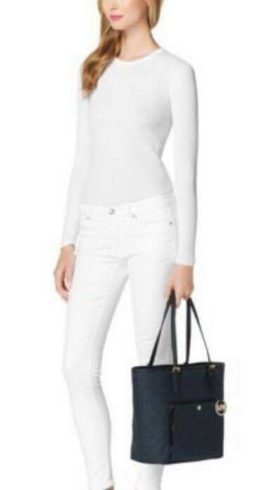 【MICHAEL KORS】正品 MK時尚經典logo防刮pvc皮革肩背托特包深藍色 2