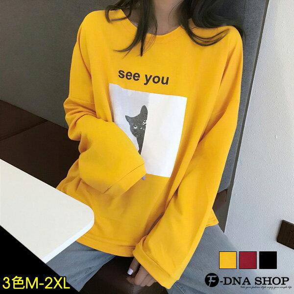 下殺229元★F-DNA★SEEYOU貓咪印圖長袖圓領上衣T恤(3色-M-2XL)【ET12811】