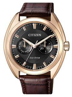CITIZEN星辰BU4018-11H光動能時尚真皮手錶黑面44mm
