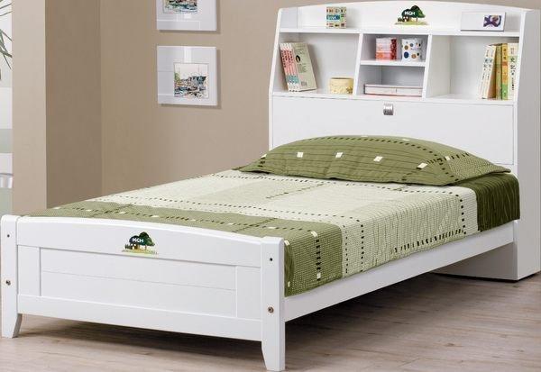 石川家居:【石川家居】AF-601-7菲莉絲3.5尺書架型單人床架_白色(不含床墊及含其他商品)台北到高雄滿三千搭配車趟免運費