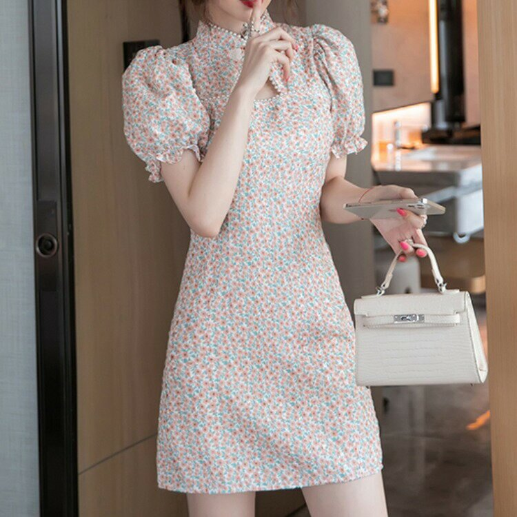 跨境女裝2021新款復古改良旗袍碎花連衣裙收腰顯瘦釘珠短袖裙子女