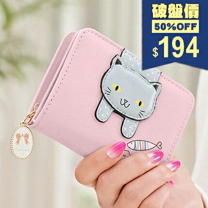 卡通萌貓印花短款錢包 皮夾 手拿包 包飾衣院 A1094
