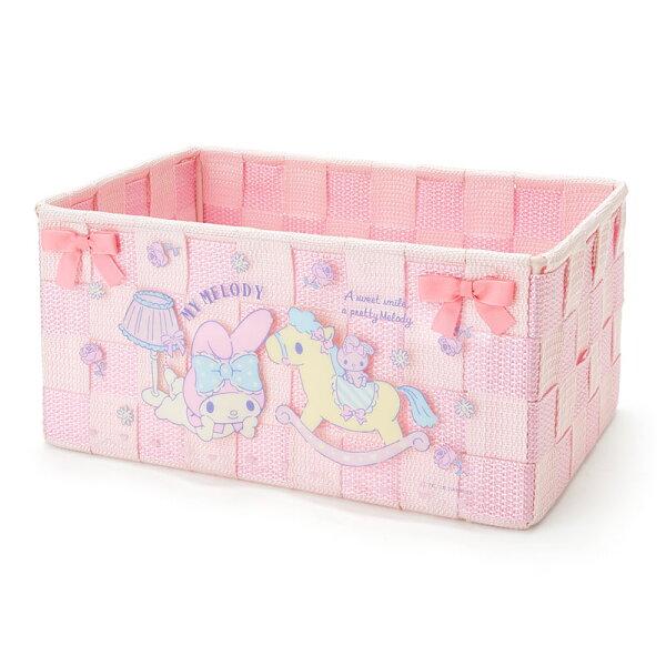【真愛日本】18050800006編織置物籃M-MM粉ACK三麗鷗美樂蒂melody置物籃收納盒
