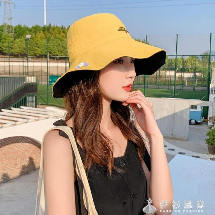 漁夫帽子女小雛菊夏天韓版潮百搭大帽檐太陽沿遮臉雙面遮陽防曬帽