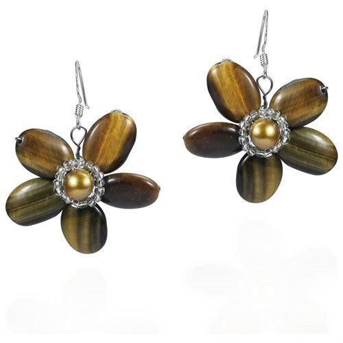 Brown Tiger Flower w Silver Beads .925 Silver Earrings 0