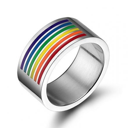 F0006 彩虹旗鈦鋼戒指 拉拉 同性 LES  手鍊 手環 項鍊 沂軒