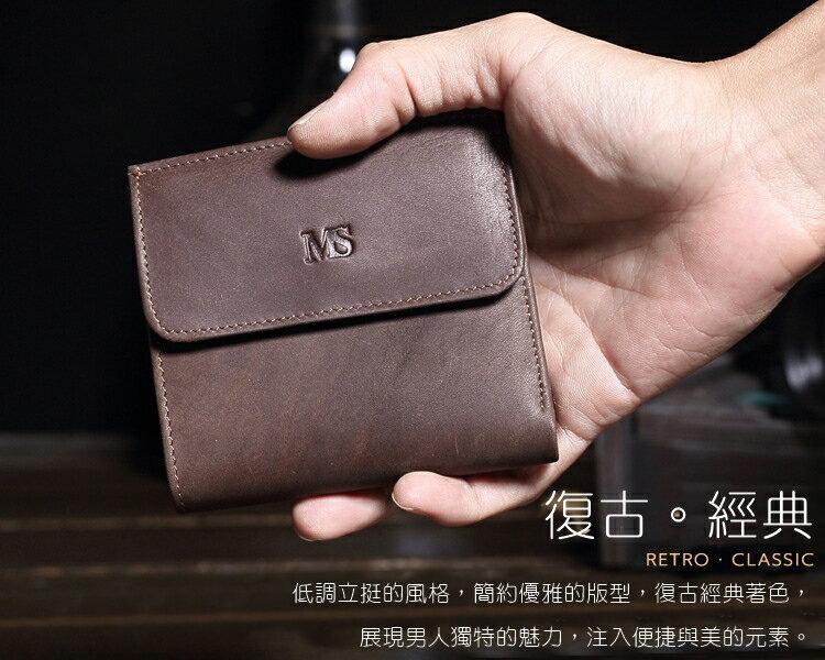 【喜番屋】日韓版真皮牛皮復古男士大容量2折皮夾皮包錢夾零錢包短夾流行男包男夾LH348