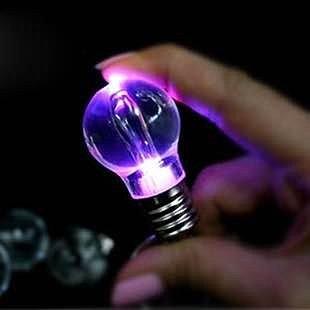 =優生活=創意LED燈泡造型鑰匙圈 七彩鑰匙圈 鑰匙扣 創意贈品 禮品