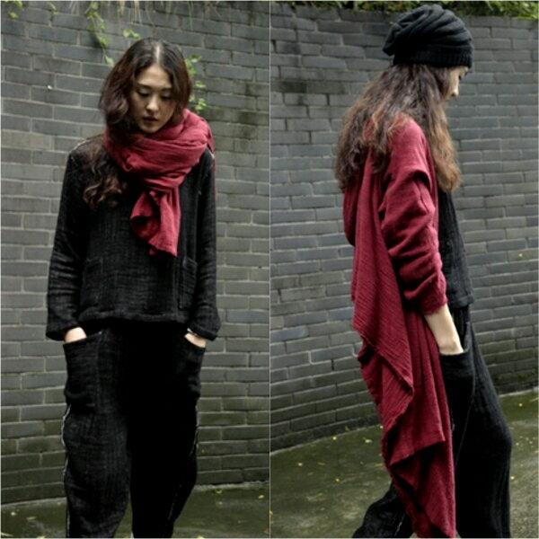 [ U'NIDO ] 原創手作 隨性文藝多變百搭雙層縐棉連帽外套披風 長圍巾 大披巾/ 柔軟親膚/ 舒適保暖/ 暖心禮物