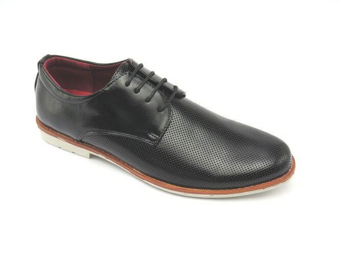 *男皮鞋* 時尚舒適方頭排壓氣墊皮鞋77-505(黑)☆【彩虹屋】☆