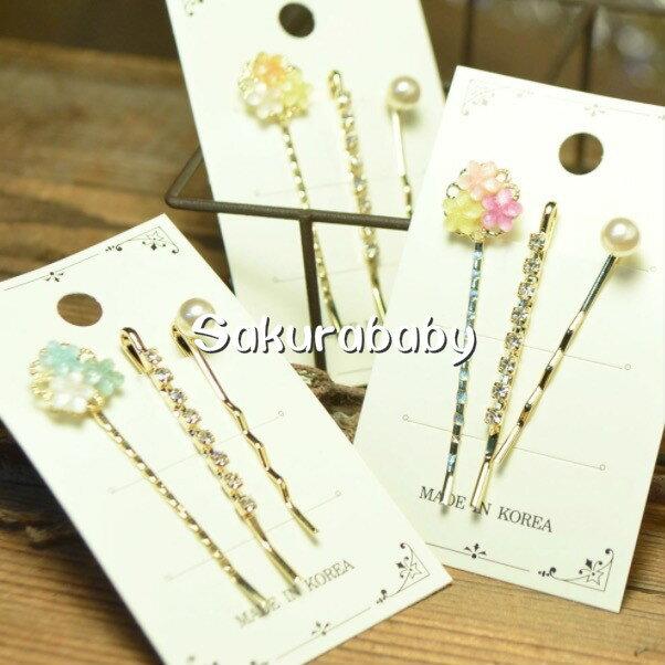 媽咪愛美專區 日本進口abeille pierced 彩色花朵髮飾 花朵髮夾 珍珠 水鑽髮飾 韓國製造 櫻花寶寶