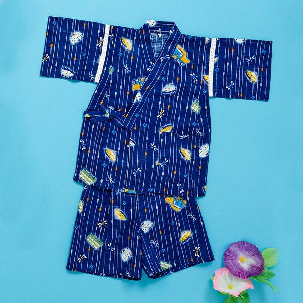 【真愛日本】4901610744161兩件式兒童睡衣90CM-KT和風藍ACP凱蒂貓KITTY兒童睡衣居家服
