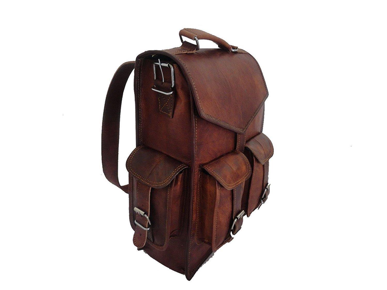 Brown Vintage 2-in-1 Leather Backpack Laptop Messenger Bag Rucksack Sling  for Men b5581bc76eae5