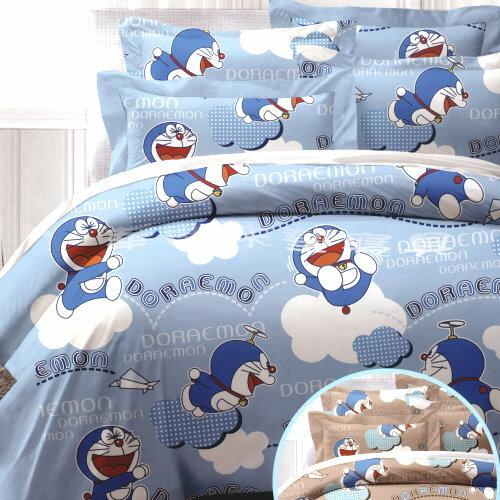 *華閣床墊寢具*《哆啦A夢.飛飛樂》雙人床包舖棉兩用被套組【床包+枕套*2+兩用被套】5*6.2台灣製