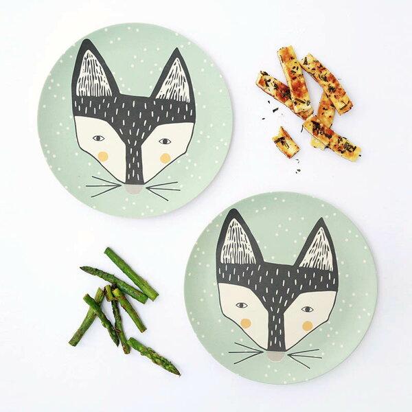 orin 原品設計:《LoveMae》New狐狸寶寶2入餐盤-無毒竹製兒童餐具