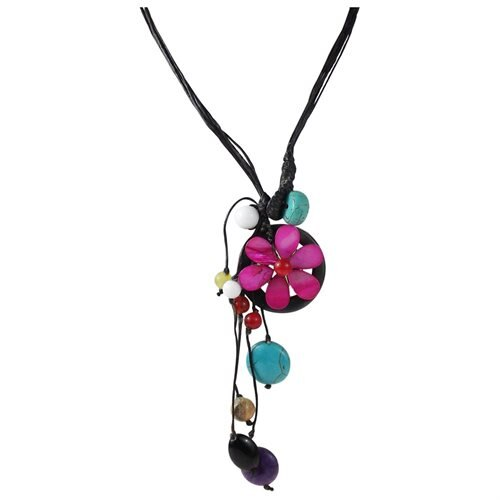 Pretty Purple Flower Pendant with Colorful Mix of Stone and Shell Necklace (Thailand) 0