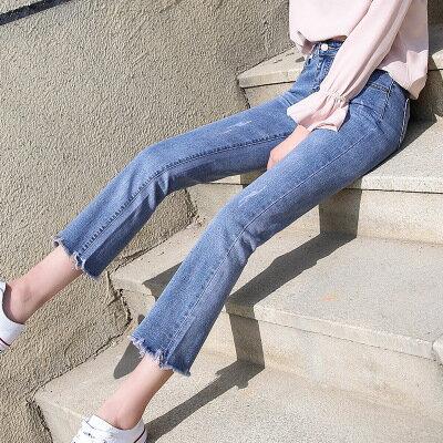 韓系女裝高腰微喇牛仔褲毛邊九分褲彈力喇叭褲**比一般牛仔褲小一碼**樂天時尚館。預購