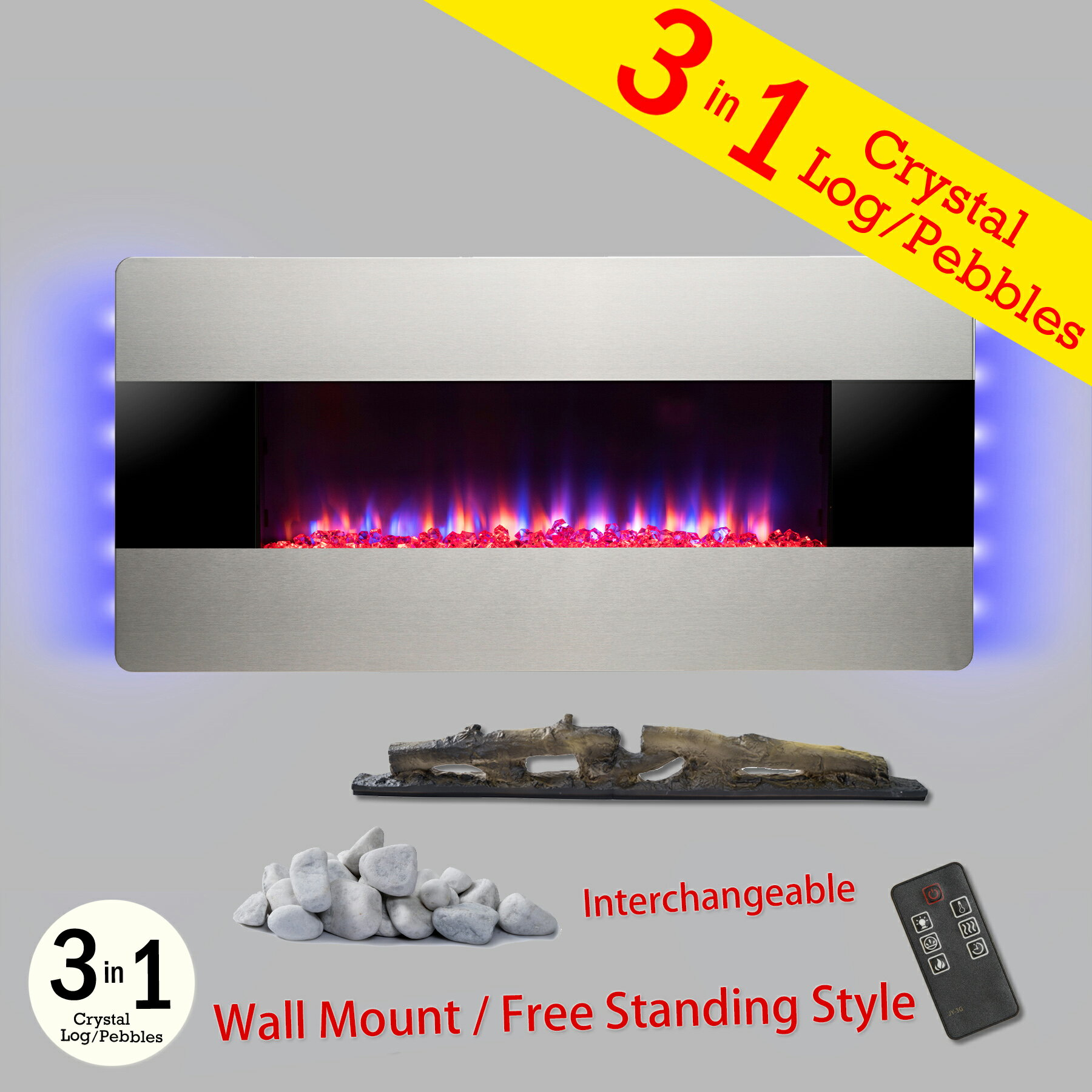 """AKDY 36"""" Wall Mount & Freestanding Convertible Multi Color 3D Flame Electric Fireplace Stove Heater 0"""