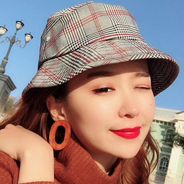 PS Mall 時尚格子漁夫帽遮陽青年帽子潮【G1003】 0