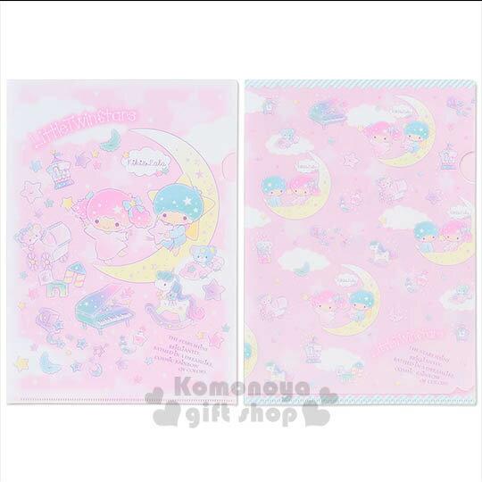 〔小禮堂〕雙子星 日製L型文件夾~A4.粉.月亮.小熊~夢幻系列