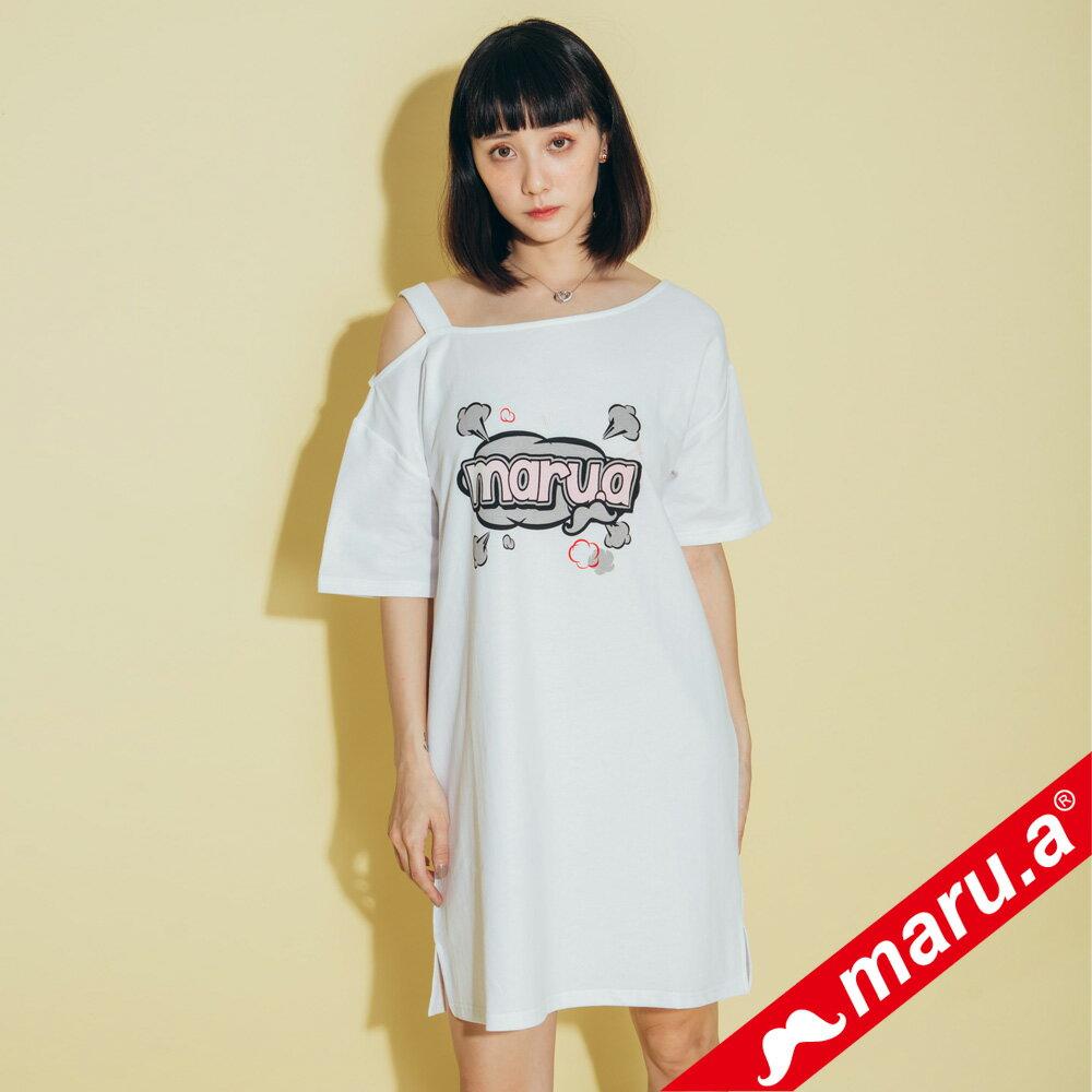 【maru.a】胸前maru.a印花背後織帶裝飾露肩洋裝 8317111 3