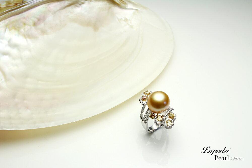 大東山珠寶 燦爛月光 頂級真鑽18K白金南洋金珍珠戒指 5