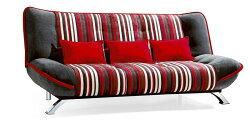 !新生活家具!《華莉絲》紅條紋 沙發床 三人位沙發 布沙發 棉絨布 三段調節 可拆洗 簡約 現代 兩色