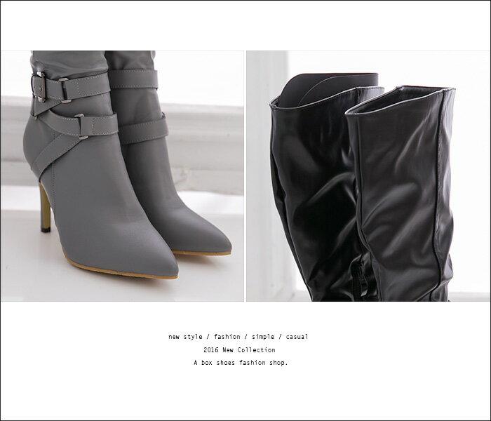 格子舖*【KFQC-2】日韓潮流時尚 高質感透氣抓皺皮革 9CM細高跟長靴 機車靴 直筒靴 2色 2