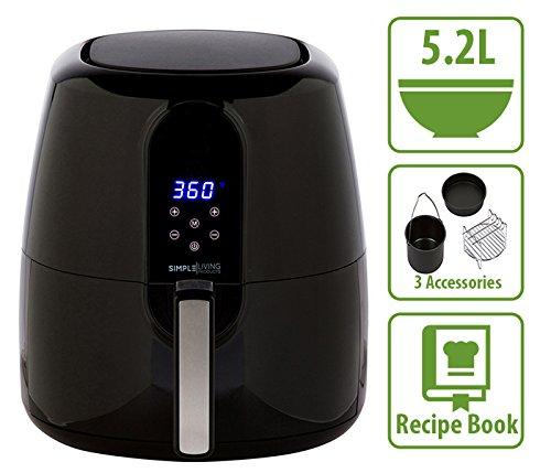 Simple Living 5.2L Digital XL Air Fryer. 3 Piece Accessory Set & Recipe Book. 7 Cooking Settings 0