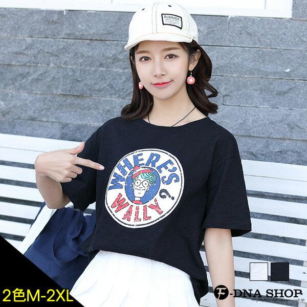 F-DNA★WILLY斑駁人偶印圖圓領短袖上衣T恤(2色-M-2XL)【ET12678】