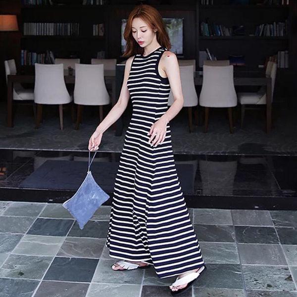 PSMall簡約氣質新款條紋顯瘦大擺連身裙洋裝【T294】