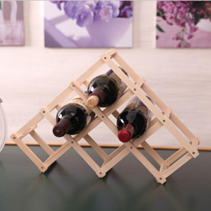 [Hare.D] 原木 6瓶裝 折疊紅酒架 簡易紅酒架 酒瓶架 收納架 居家酒瓶架
