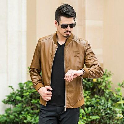 皮衣夾克外套-春秋立領純色薄款男夾克4色73pn2【獨家進口】【米蘭精品】 0