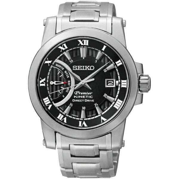 Seiko Premier 5D22-0AD0D(SRG009J1)人動電能經典羅馬腕錶/黑面41mm