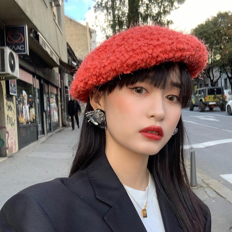 貝雷帽子女秋冬時尚毛絨英倫復古南瓜帽時髦洋氣純色百搭網紅同款1入