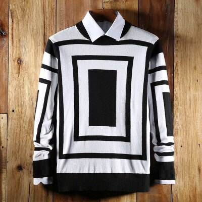 針織毛衣長袖針織衫-時尚方形幾何造型男上衣色73ik65【獨家進口】【米蘭精品】