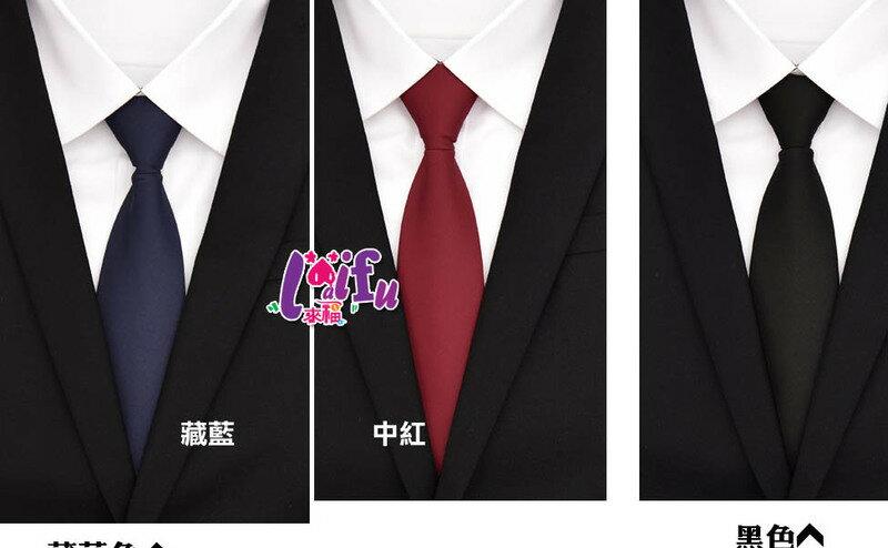 ★草魚妹★K1028領帶布面寬8cm拉鍊領帶寬版領帶免打領帶學生領帶 ,售價170元