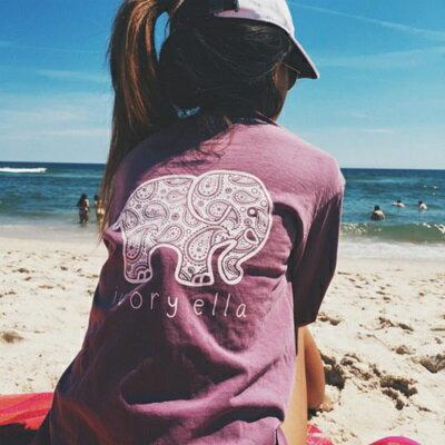 針織上衣長袖T恤~大象圖案 休閒女裝4色73hn43~ ~~米蘭 ~ ~  好康折扣