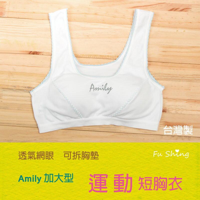 <br/><br/> 0806/短版/加大型/【AMILY】吸濕排汗少女成長胸衣/運動型胸衣/ 台灣製/俏麗雙色<br/><br/>