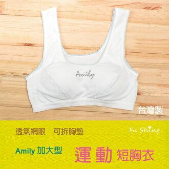 0806/短版/加大型/【AMILY】吸濕排汗少女成長胸衣/運動型胸衣/ 台灣製/俏麗雙色