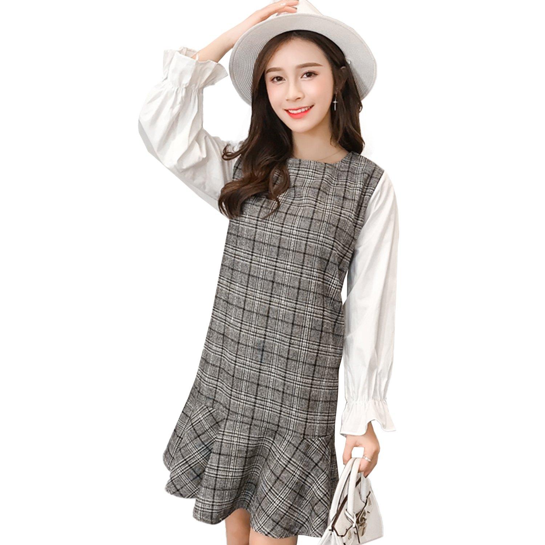 長版上衣--時尚優雅拼接格紋荷葉袖寬鬆A字修身長上衣(灰L-3L)-X329眼圈熊中大尺碼 0