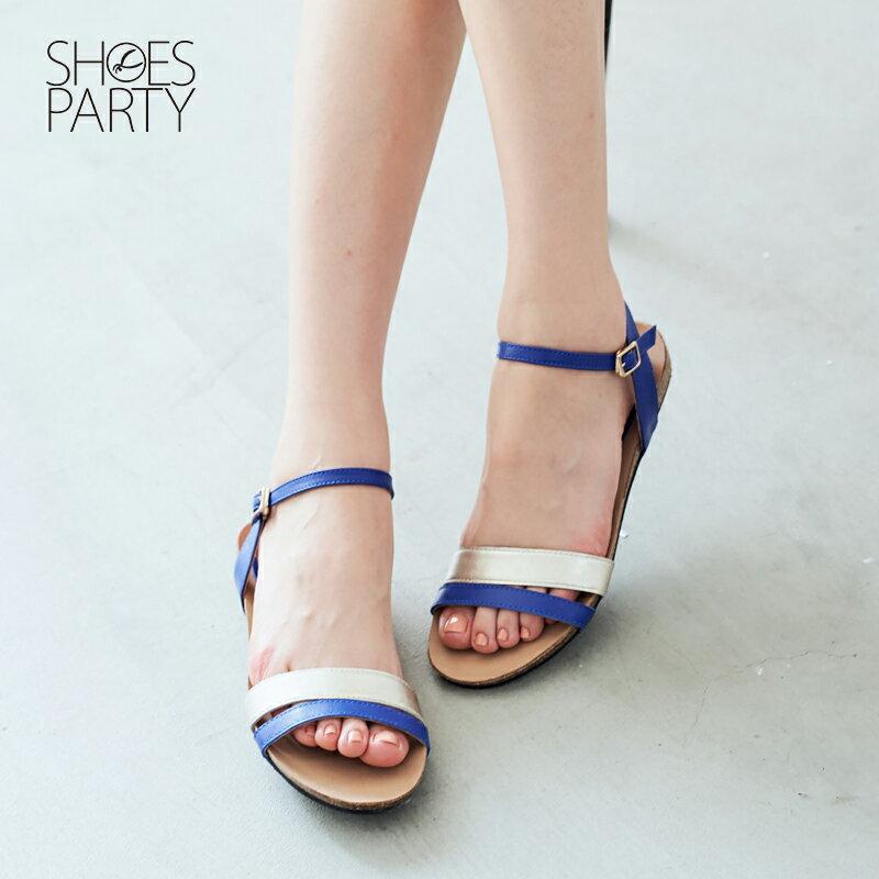 【S2-17324L】服貼牛皮底撞色雙帶涼鞋_Shoes Party 1