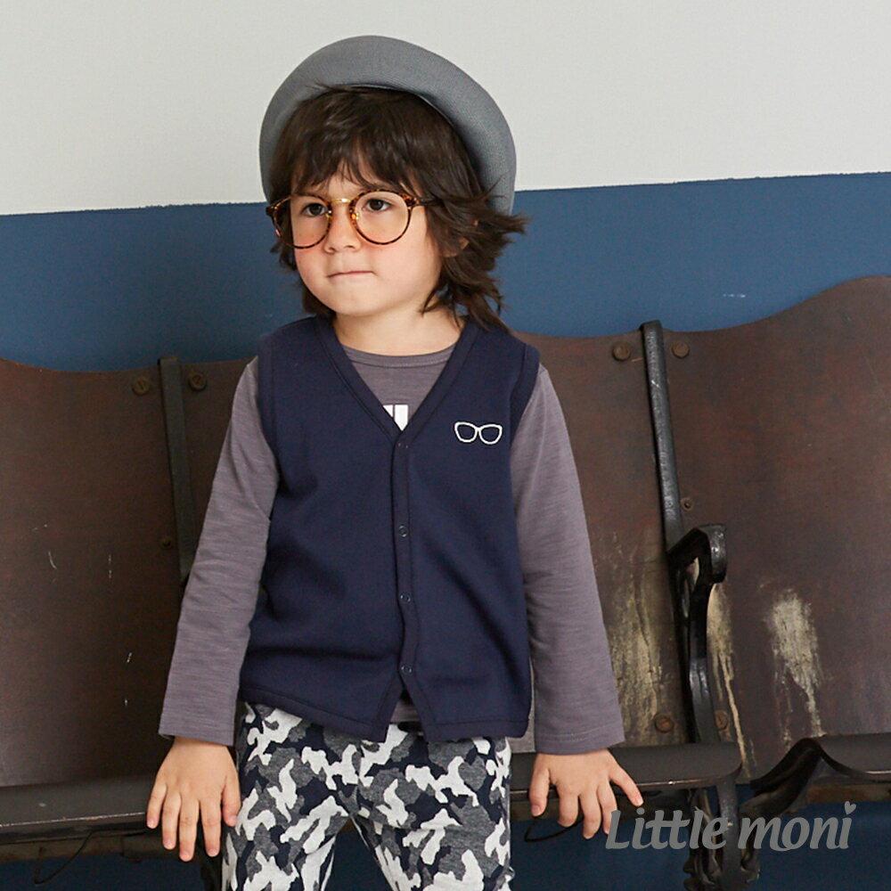 Little moni 眼鏡刺繡內抓絨背心-深藍 1