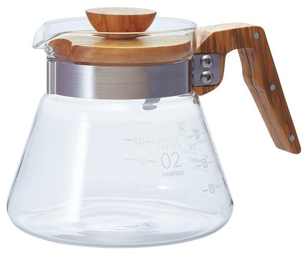 日本原裝HARIOVCWN-60OV橄欖木耐熱玻璃咖啡壺600ml手沖咖啡壺花茶壺