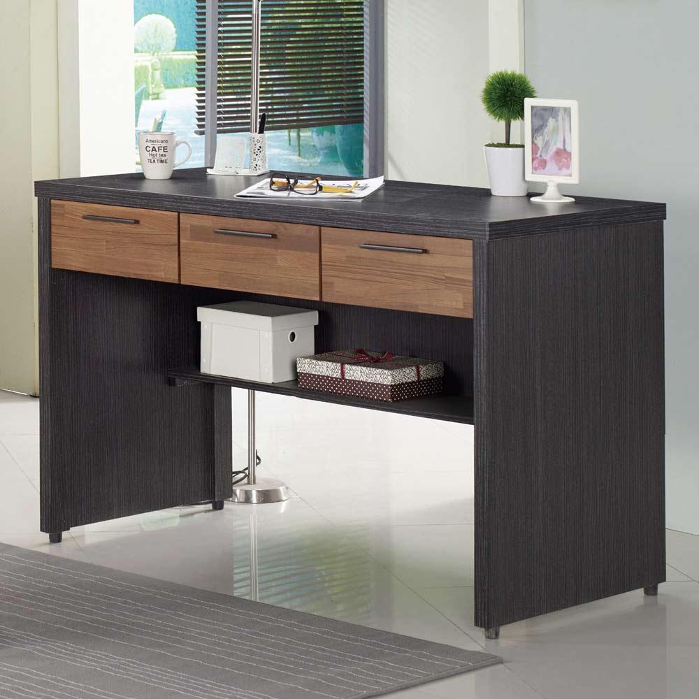 雷恩4尺雙色三抽書桌/H&D東稻家居-618購物節