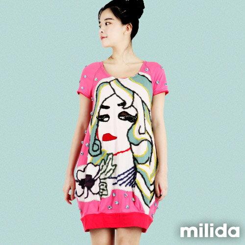 【Milida,全店七折免運】-夏季商品-拼貼款-插畫情人洋裝 0