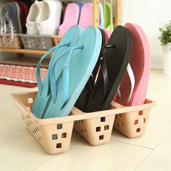 BO雜貨【SV8164】日本製 塑料簡易三卡位立式鞋 鞋子增倍收納架 鞋櫃 室內拖鞋 置物盒 創意鞋架 節省空間收納