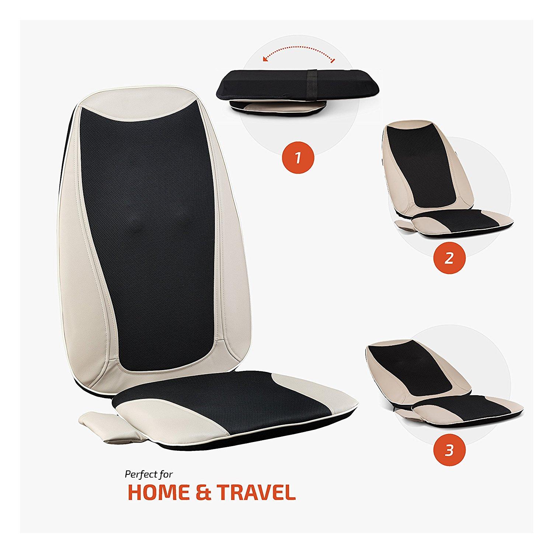 Belmint Seat Massager Cushion With Shiatsu Kneading Vibrating Rolling Heat